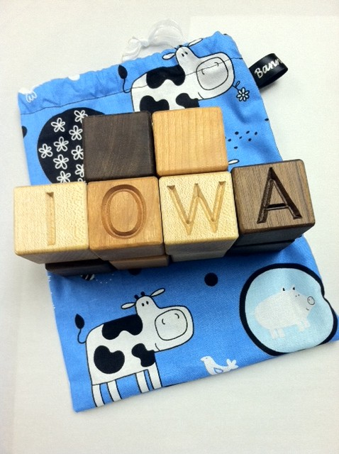 Wooden Iowa Blocks